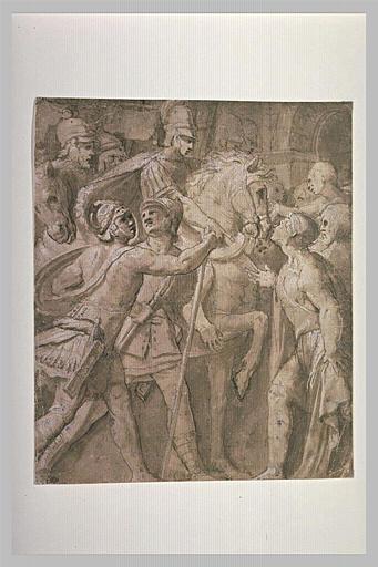 Suppliant s'adressant à un général à cheval, entouré de guerriers