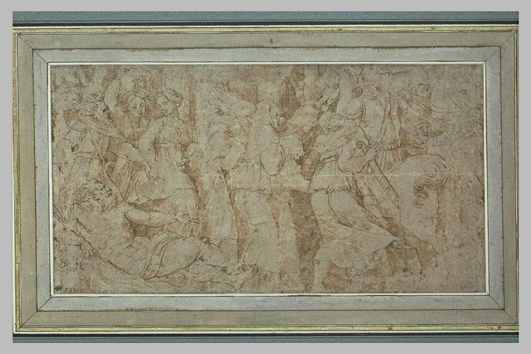 Guerriers à cheval, femmes chargées de paquets et figure de fleuve