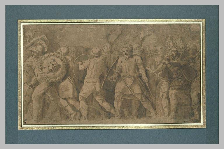 Guerriers marchant au combat, un roi leur montre le chemin