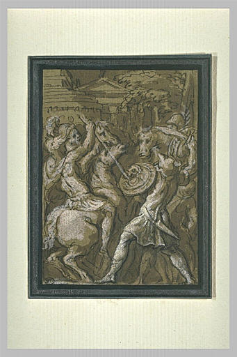 Combat de cavaliers et d'hommes armés de boucliers
