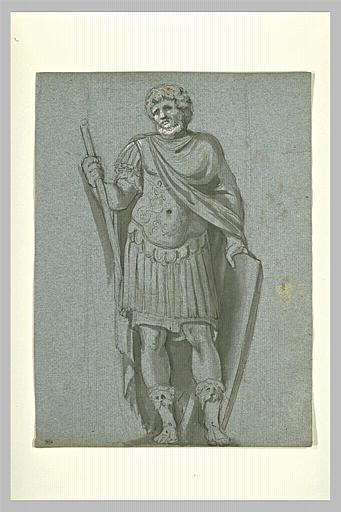 Etude de guerrier, de face, appuyé sur un bouclier et tenant un bâton