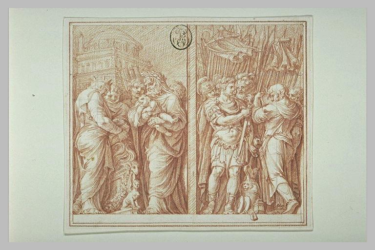 Figures couronnées ; Guerriers et trophées : Camille et Brennus (?)