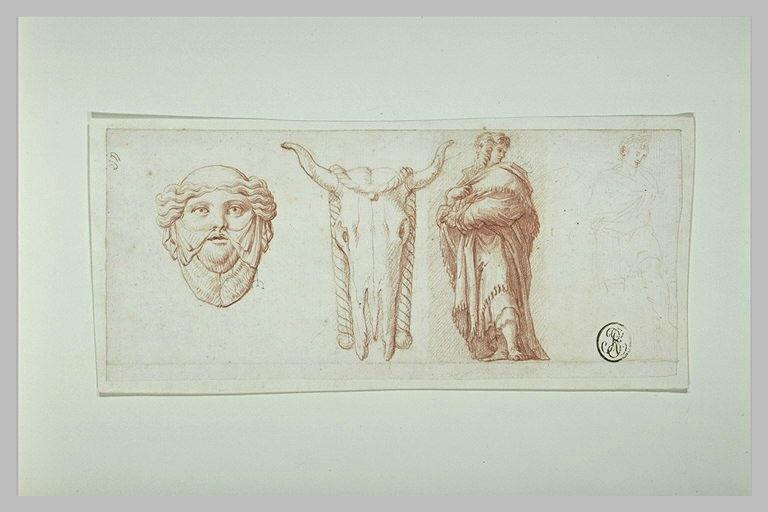 Masque antique ; crâne de bovidé ; homme masqué, drapé ; esquisse d'un homme