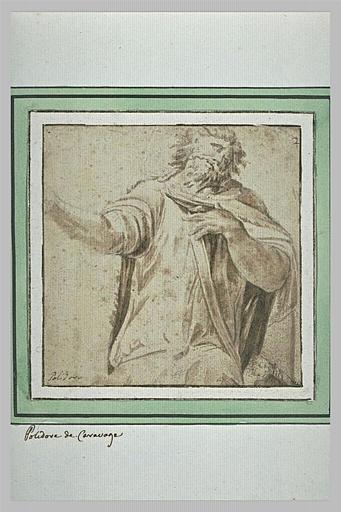 Demi-figure d'homme : détail d'une scène antique