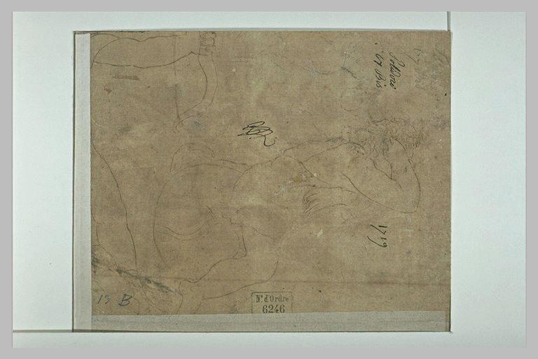 Fragment d'un homme tirant à l'arc ; esquisse d'un homme assis, de profil