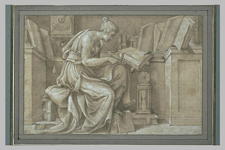 Femme assise, étudiant d'après des manuscrits : Allégorie de l'Histoire