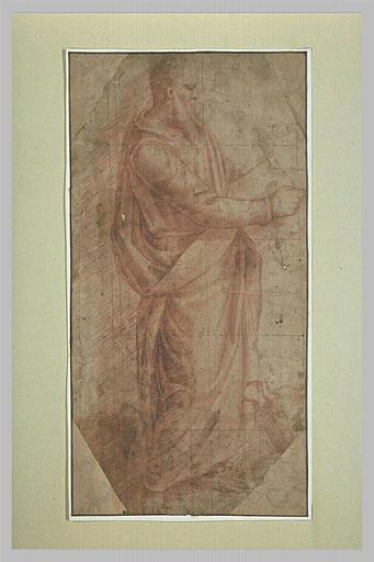 Saint Luc debout, tourné à droite et tenant un livre