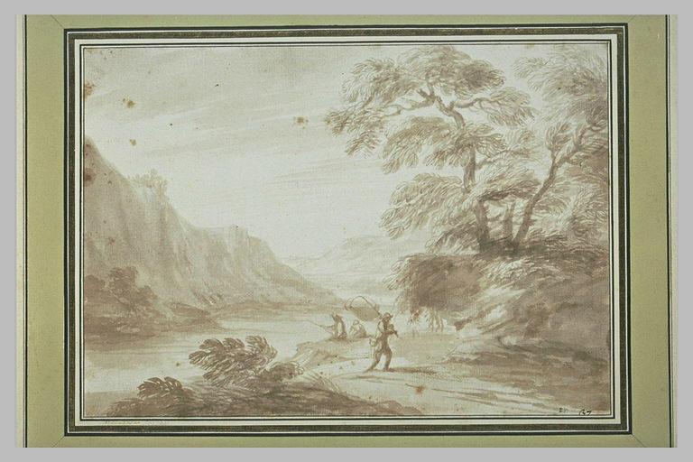 Paysage dans la brume avec des pêcheurs