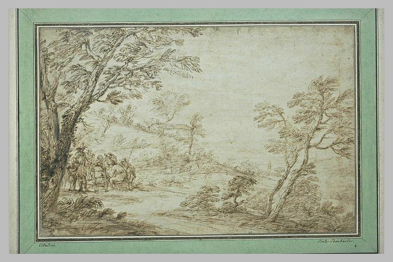 Plusieurs figures attablées dans un paysage