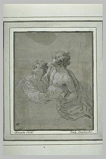 Jeune couple enlacé, en buste, regardant vers le haut_0
