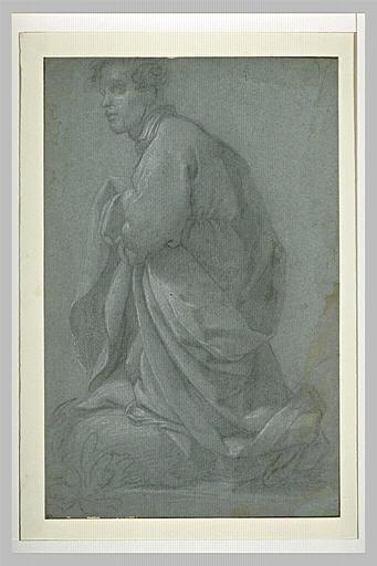 Un jeune homme, drapé, à genoux, tourné vers la gauche