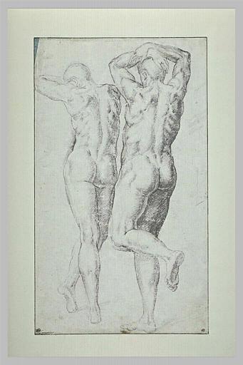Etude de deux hommes nus, vus de dos, les bras sur la tête