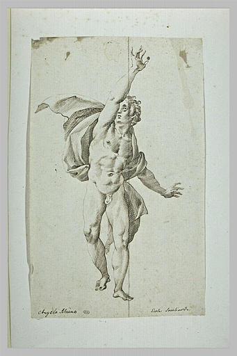 Homme nu, debout, levant le bras droit, une draperie sur les épaules