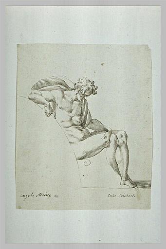 Homme nu, de profil, assis, la main gauche sur le genou droit_0