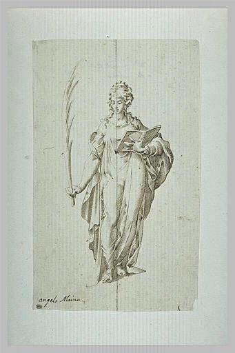 Femme debout, tenant un livre et la palme du martyre