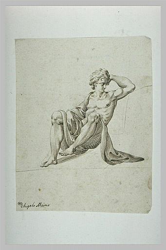 Homme nu assis, de face, accoudé, semblant dormir