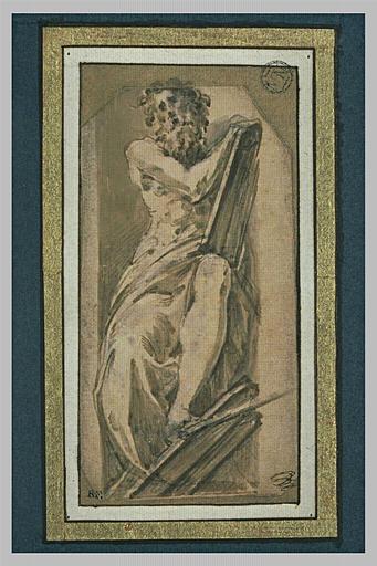 Moïse, assis dans une niche, tenant les Tables de la Loi
