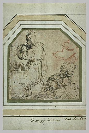 Deux études de femmes portant un enfant, et une feuille d'acanthe