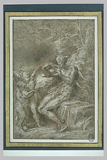 Saint Jean-Baptiste assis dans le désert, tourné vers la gauche