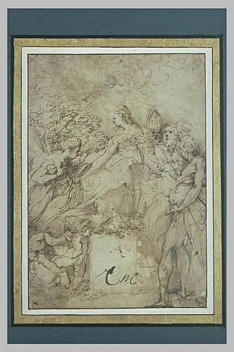 La Vierge trônant avec quatre saints et trois anges