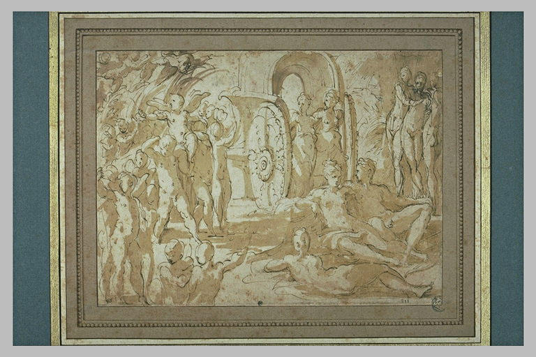 Mars et Vénus assis, avec Cupidon porté en triomphe, les Trois Grâces,...