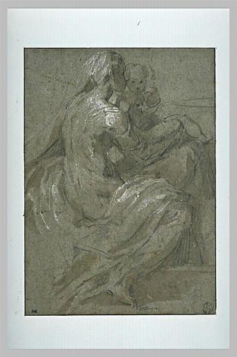 La Vierge assise de profil, vers la droite, tenant l'Enfant