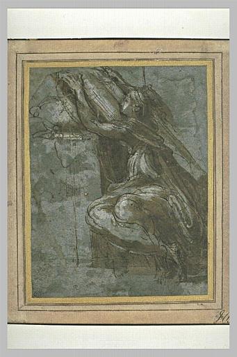 Sibylle assise, de profil vers la gauche, écrivant