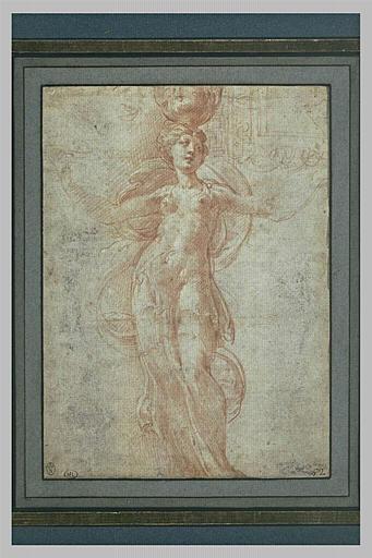 Canéphore, de face, et motif décoratif