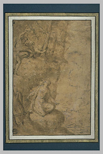 Une femme à genoux sur un rocher, levant les yeux vers d'autres figures