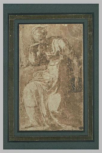 Femme assise, la tête appuyée sur la main droite, paraissant réfléchir