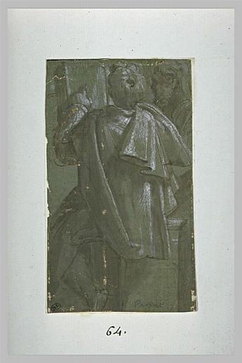 Homme de dos, en manteau, pointant un passage dans un livre