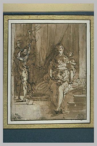 Femme avec un enfant sur ses genoux, un autre près d'elle et deux figures