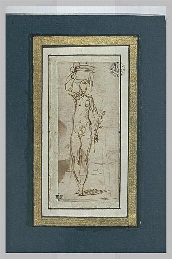 Femme nue debout, vue de face, portant un panier sur la tête