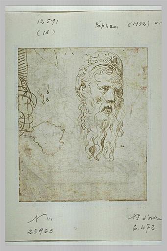 Tête de vieillard barbu, et motif ornemental