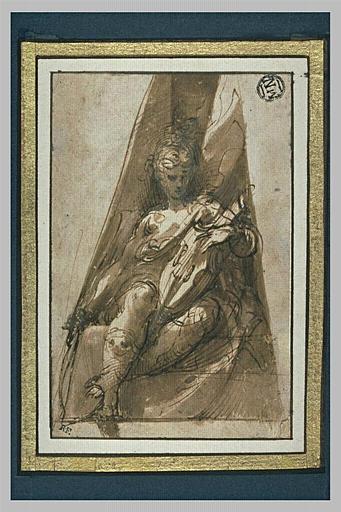 Femme assise, de face, dans un écoinçon, tenant un arc et un violon