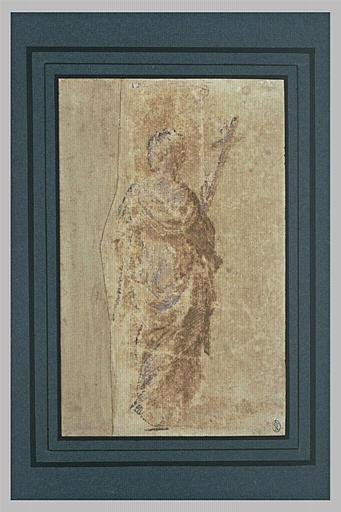 Femme drapée, de dos, tenant un crucifix : la Religion (?)