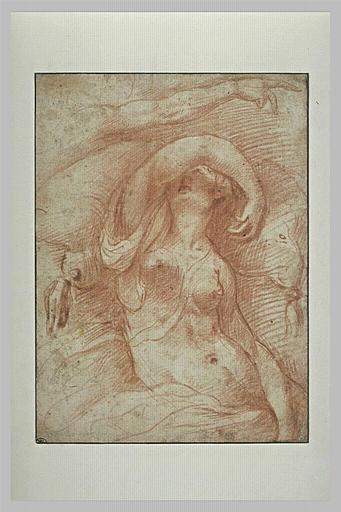 Femme nue, à demi étendue sur un lit, et étude d'un bras tendu