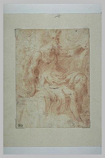 Philosophe assis, de profil, vers la droite