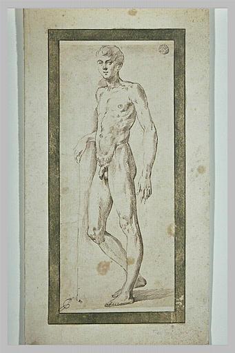 Jeune garçon nu, debout, légèrement tourné vers la gauche