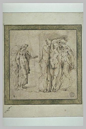 Une femme debout, avançant le bras gauche et deux femmes nues avec un satyre