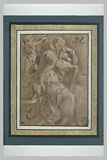 Un prophète assis, tourné vers la droite, accoudé sur un livre, et un ange