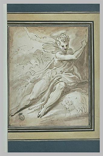 Saint Jean assis avec l'Agneau dans le désert