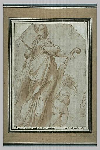 Sainte Cécile debout, et un ange