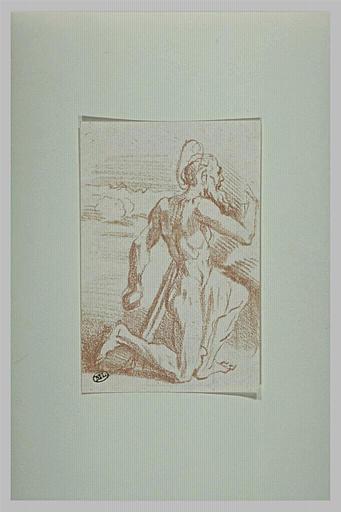 Saint Jérôme, à genoux, tourné vers la droite