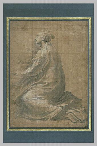 Sainte Marguerite à genoux, vue de profil et tournée vers la gauche