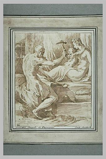 Vulcain forgeant des armes pendant que l'Amour caresse Vénus