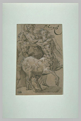 Un centaure et un homme enlevant une femme se débattant