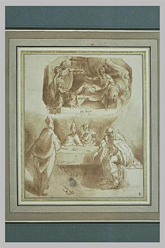 Femme présentant un enfant à un homme couché, et figures autour d'une table