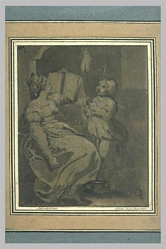 Femme assise tenant un livre et jeune fille tenant une torche