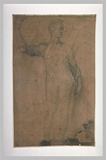 Femme debout, le bras droit levé, un bâton dans la main gauche